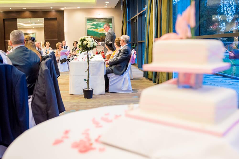 Groom wedding speech with wedding cake