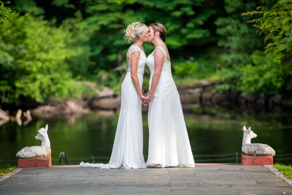 Brides kissing beside River Tay