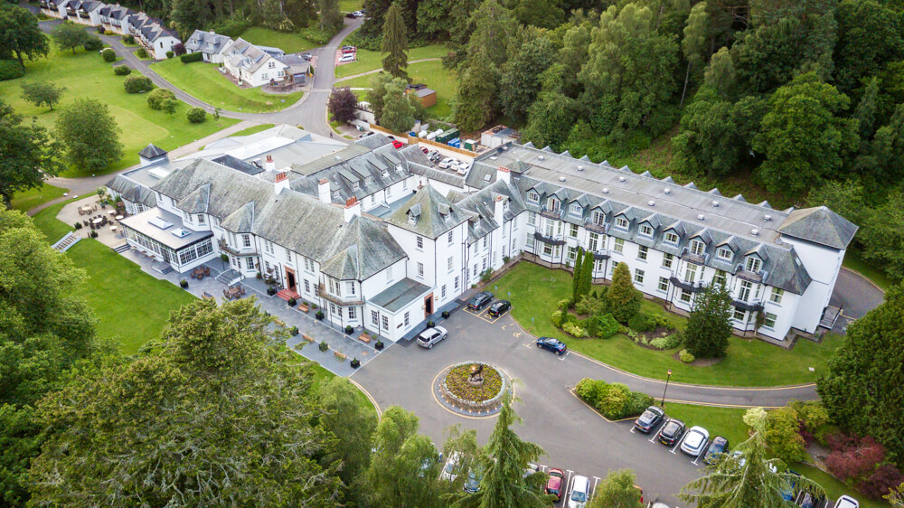 Dunkeld House Hotel aerial view from drone
