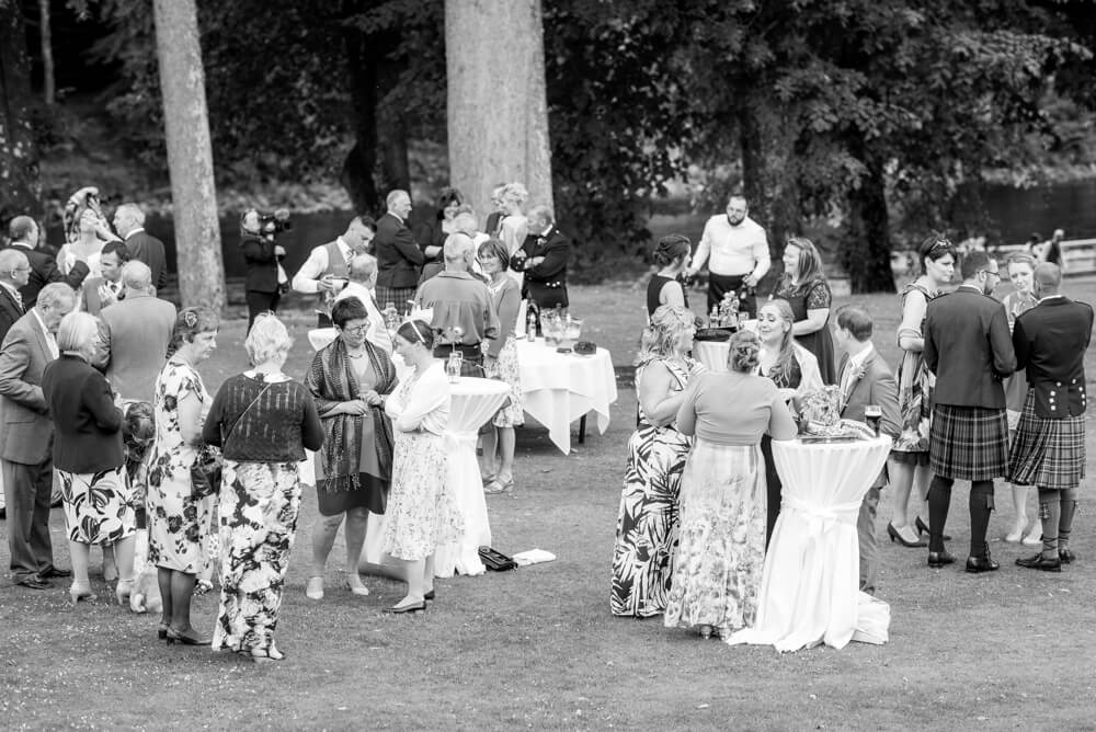 Wedding guests at Dunkeld House Hotel