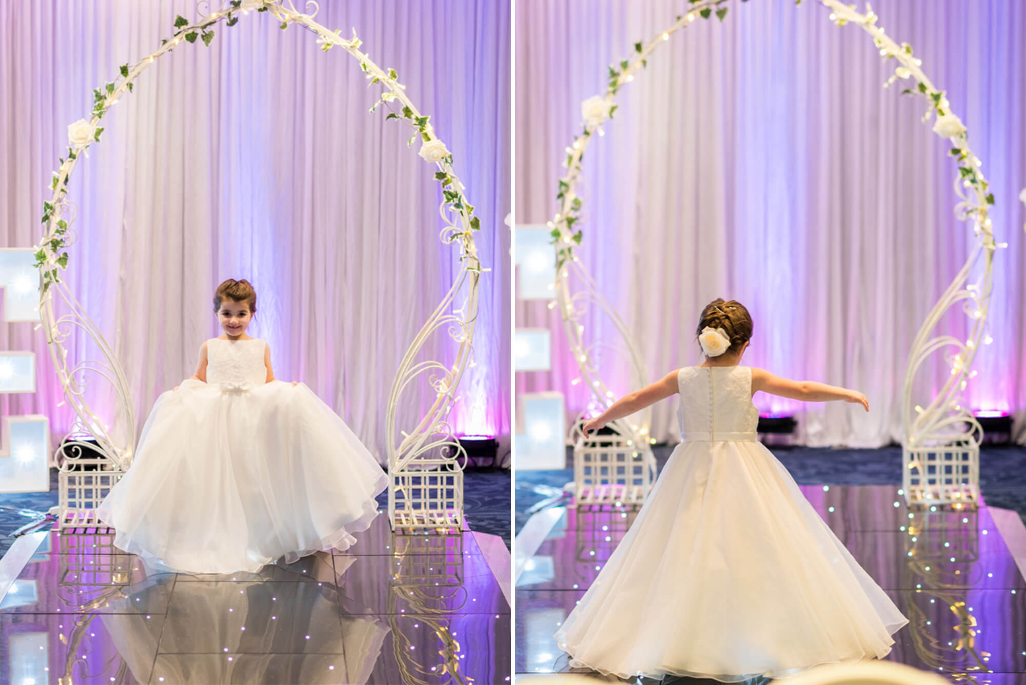 Flower girl walking down catwalk at Edinburgh Wedding Exhibition