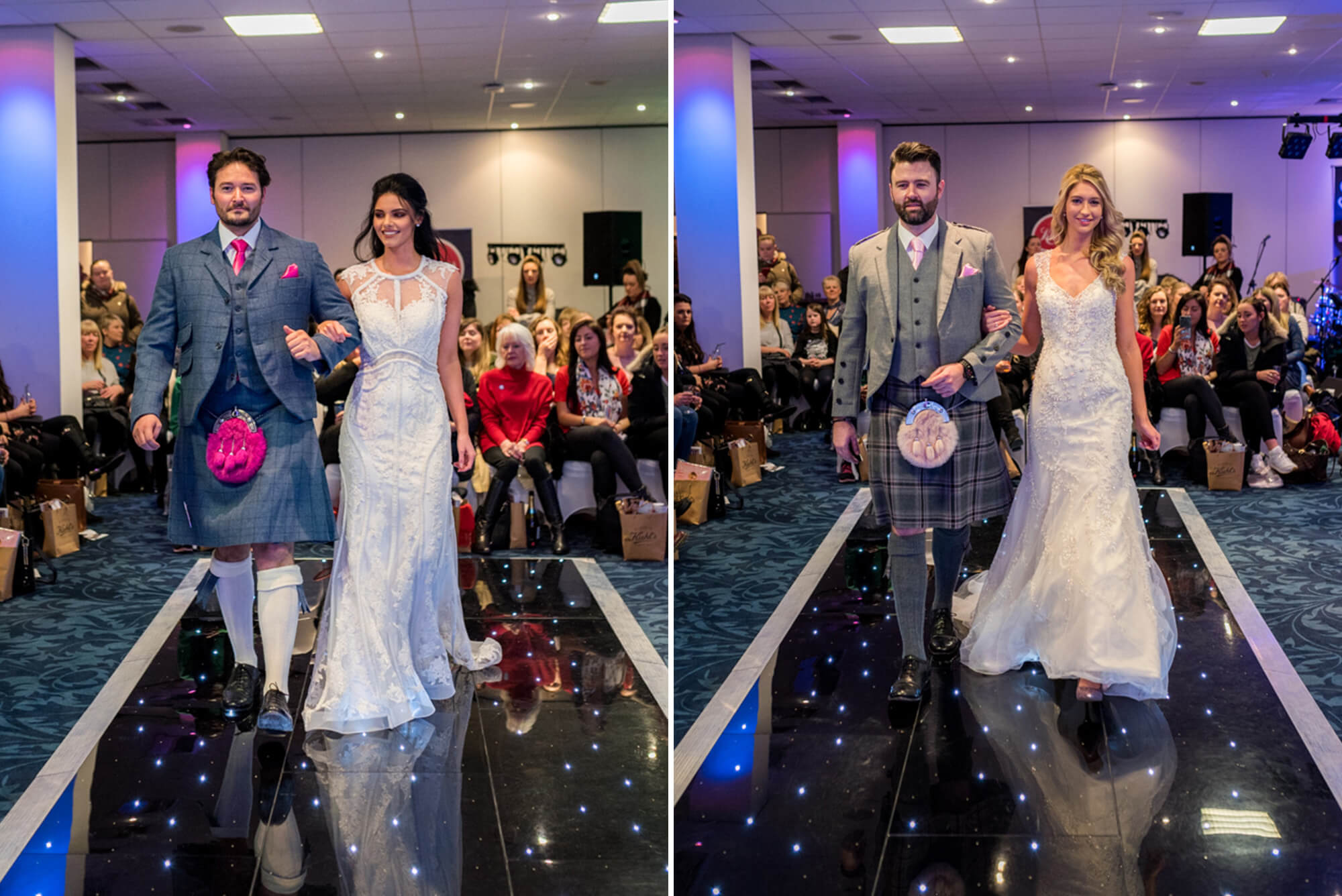 Bride and groom walking down catwalk