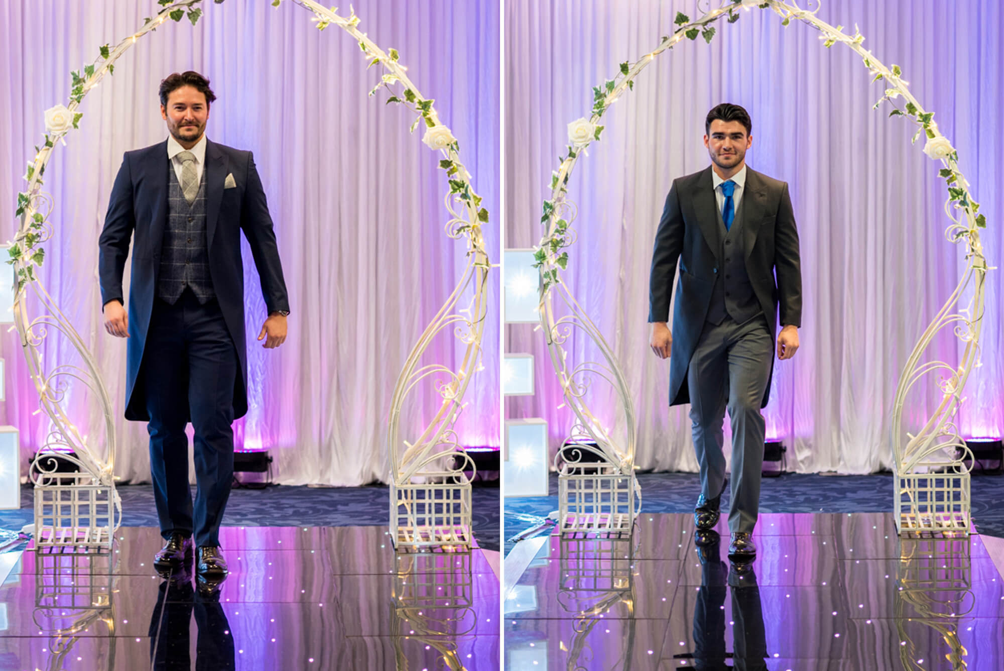 Grooms walking down catwalk