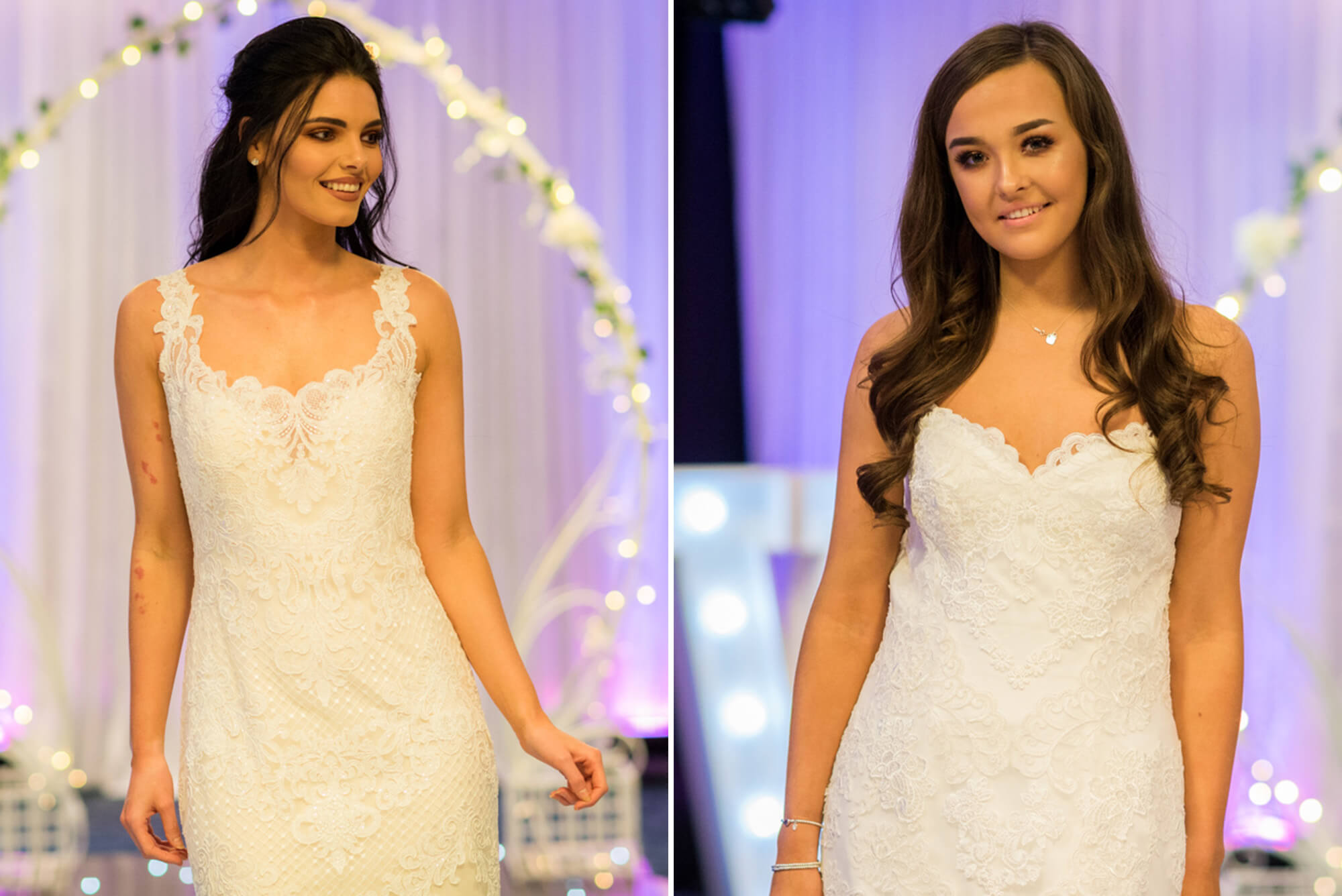 Brides on catwalk in Edinburgh Wedding fair