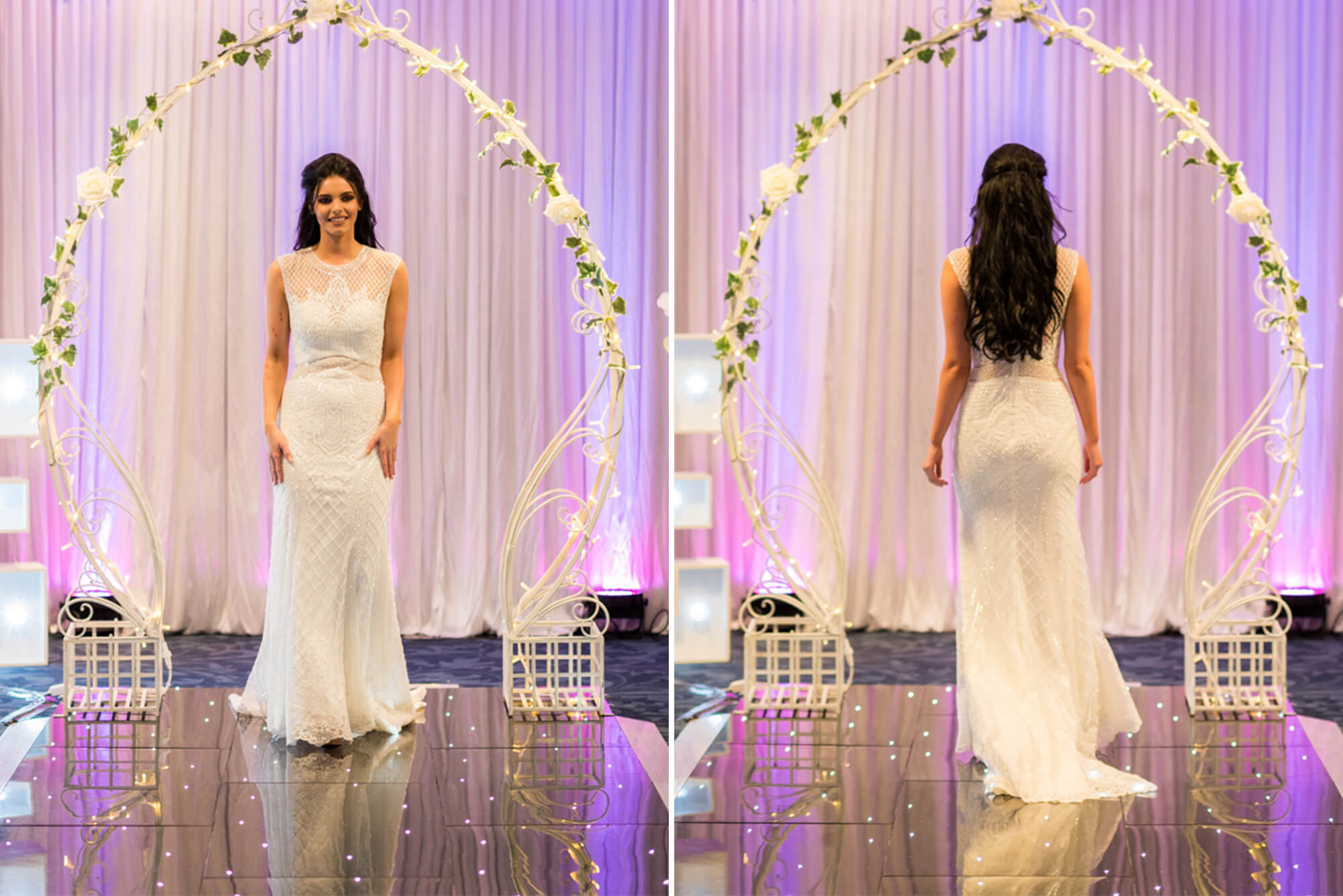 Bride waking down catwalk at Edinburgh Wedding Show