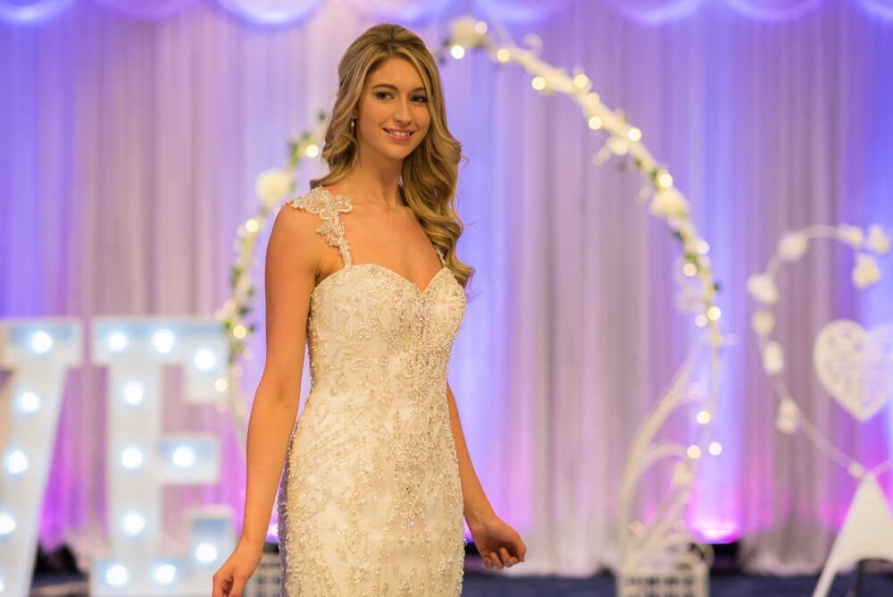 Stunning bride during Edinburgh Wedding Exhibition catwalk